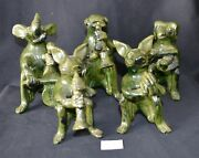 ThriftCHI ~ Green Glazed Art Pottery Animals Musical Band (5)