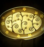 Handmade Beautiful Pottery Oval Decorative Platter Tray Blue/White/Tan Design