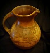 HOLMES COUNTY POTTERY -Large Wood Fired Art Pottery Pitcher Handmade / Signed