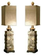 Classic Rustic Stone Finish Lodge Ranch Table Lamp Pair Set Masculine Buffet