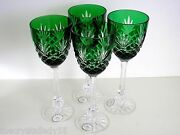 4 Faberge Odessa Ed 2 Emerald Cased Cut To Clear Crystal 8 7/8' Water Goblets