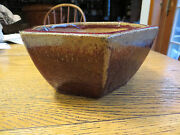 Estate Mid Century Modern Hand Made Terracino Planter Pot Great Glaze Italy