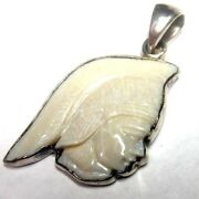 Charles Albert Design 2 Sterling Silver Carved Soldier Face Cameo Head Pendant