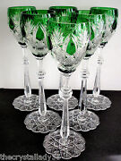 6 Faberge Czar Imperial Emerald Green Cased Cut To Clear 10 5/8 Wine Goblets