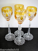 4 Faberge Czar Imperial Amber Gold Cased Cut To Clear 10 5/8  Wine Goblets