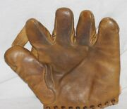 Rare Early1940and039s Pinky May Rawlings Split Finger Baseball Glove 10.5 X 10