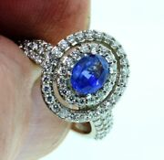 Blue Sapphire And Diamond Ring 2.06 T.c.w 14kw Gold Size 6 1/2