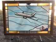 Vintage Huge Stained Glass 737 Jet Airplane And San Francisco Golden Gate Bridge