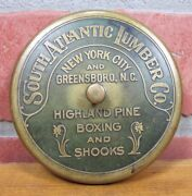 Antique South Atlantic Lumber Co Advertising Brass Paperweight Nyc Greensboro Nc