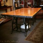 Vintage Ndustrial Dining Table / Machine Stand Base / Bowling Alley Top. L@@k
