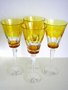 Ajka Lynn Lausanne Amber Gold Cased Cut To Clear Crystal Water Wine Set Of 4