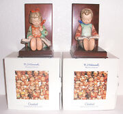 M.i. Hummel Goebel Book Worm Boy And Girl Reading Figurines Bookends