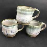 Studio Pottery Three Handled Mugs Artist Signed Fish Theme