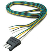 Flat 4 Way Male Trailer Side Wire Connector For Boat Trailers - 48 Inch Wire