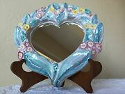 Scandinavian RAS DANISH STUDIO POTTERY Handmade Heart Shaped Mirror 1960s SIGNED