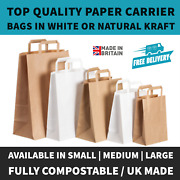 Brown And White Kraft Paper Sos Food Carrier Bags With Handles Party Takeaway