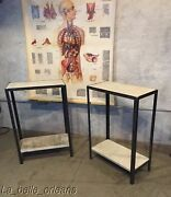 Custom Made Steel And Inset Antique Marble Side / End Tables. Chic L@@k