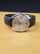 Vtg Hamilton Automatic Watch Silver Dial Gold Detail Black Shark Leather Band
