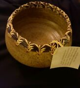 Hand Thrown Studio Art Pottery Pine Needle Trim Vase/Bowl Signed by Artist