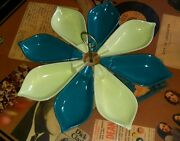 Vintage Lazy Susan Clay Art Deco Flower Petal Serving Tray Green