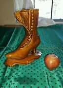"Vintage California Pottery Side Button Boot Vase #1224 Appr 9x9.5"" 2lb"