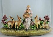 VINTAGE ITALY MAJOLICA POTTERY PLANTER VASE WOMAN DEER FLOWERS MOLLICA SIGNED