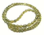 20.00 Cts Long Drill Barrel Beads Yellow Color Necklace 16 With Gold Claps 18k