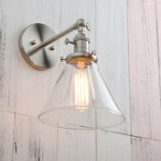 Industrial Vintage Wall Light Filament Sconce Lamp Cone Glass Funnel W/switches