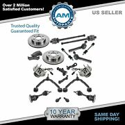 20 Piece Steering Suspension And Brake Kit Control Arms Cv Axles Pads W/ Rotors
