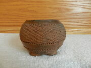 """CLAY POTTERY CRUDE SMALL FOOTED BOWL DISH 3 1/2"""""""