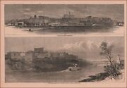 Nashville, Tennessee, Two Views Of City, Antique Engraving, Original 1868