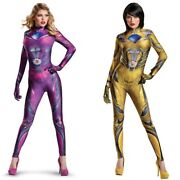 Women's Power Rangers Costume Cosplay Pink Yellow Comic Con Outfit S M L New