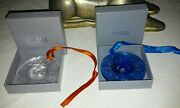 Lalique Crystal Annual Noel Ornaments 1993 And 1994 Stars Globe Clear And Sapphire