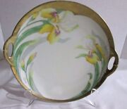 VINTAGE BAVARIA HAND PAINTED 2 HANDLE CAKE PLATE DAFFODILS  HEAVY GOLD RIM EUC