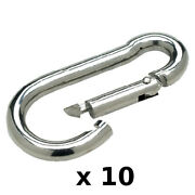 10 Pack Of 5/16 X 3-1/4 Inch Stainless Steel Safety Spring Hooks For Boats