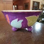 Jill Rosenwald Ceramic Bowl Studio Art Pottery Chakra Footed Floral Purple Blue