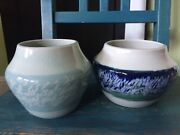 2 Handmade Studio Pottery Vases Vessels Bottoms Stamped K C Blue Gray MINT