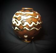 "Studio Abstract Modern Brown/White Pottery 6"" Vase Signed ART"