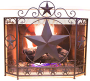 Decorative Metal Foldable Fireplace Screen With Star In Brown Metal Mesh