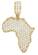 Mens 14k Yellow Gold Africa Continent Outline Iced Diamond Map Pendant 2 1/2ct