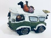 Volkswagon VW Bus Clay Sculpture w/ Cats Dogs Bird Pig Animals Lynsey Paterson