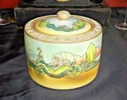 Nippon Porcelain Biscuit Jar Humidor Hand Painted Scenic Moriage Maple Leaf Mark
