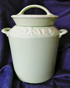 Vintage Hull Pottery Cookie Jar Milk Can With Lid Soft Green Drip