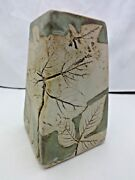 Tenmoku Pottery Aesthetic Arts and Crafts Vase Trees Signed Impressed Leaves