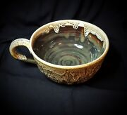 Large Studio Pottery HandMade Ceramic Mug/Bowl Brown Drip Glaze Artist Signed