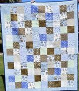 Handmade Christmas Throw Quilt With Matching Pillow, Shades Of Blue, 70 X 60