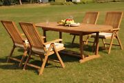 Grade-a Teak Marley 5pc Dining 94 Masoval Table Reclining Folding Arm Chair Set