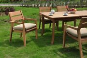 A-grade Teak Vellore 7pc Dining 94 Rectangle Table 6 Stacking Arm Chair Set