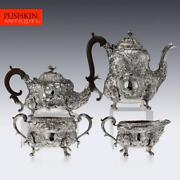 Antique 19thc Georgian Solid Silver Exceptional Tea And Coffee Set C.1818-20