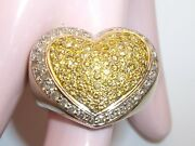 Massive 14kt Mk White Gold White And Yellow Diamond Pave Heart Ring 13.40 Grams